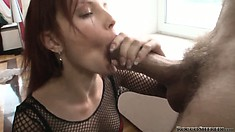 Talented fucker Rocco is tempted by the sexy bitch in fishnet stockings