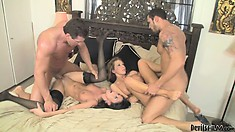 Two friends get together to swap and fuck their sexy ass wives