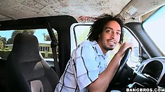 The guys are on the prowl for hot chicks to take for a ride on the Bang Bus