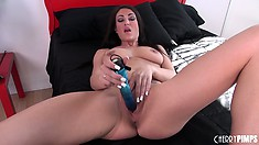 Brunette babe Victoria Love does like love with a pussy poking dildo