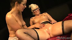 Blonde gets a fist in twat, gets fingered and licked, and the fist back in