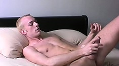 Horny twink Christian pulls his pecker till he explodes then hits the shower