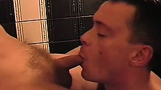 Horny masseur takes advantage of his task and sucks his friend's big dick
