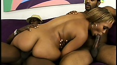 Sexy blonde ebony takes on a pair of juicy, dark dicks and gets drilled