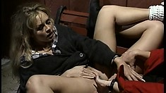 Two lustful lesbians drive each other's fiery snatches to orgasm on a park bench