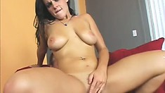 Busty brunette Natasha Nice gets her pussy fucked hard and her mouth filled with cum