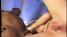Trashy blonde hooker in fishnets gets banged by a big black cock