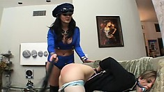 Lesbian in a sexy cop outfit makes her gorgeous girlfriend cum