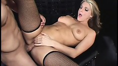 Blonde gives him head and gets her box drilled in the dungeon with sex swings