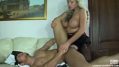 Glamorous babe with huge fake jugs Monica fucks the butt of Govard