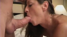 Dazzling brunette has her lovely lips driving a fat prick to orgasm