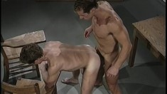 Well built hunk Steve Marks gets nasty with asshole in the classroom