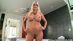 Swedish MILF Pornstar Puma Swede masturbating with a big vibrator